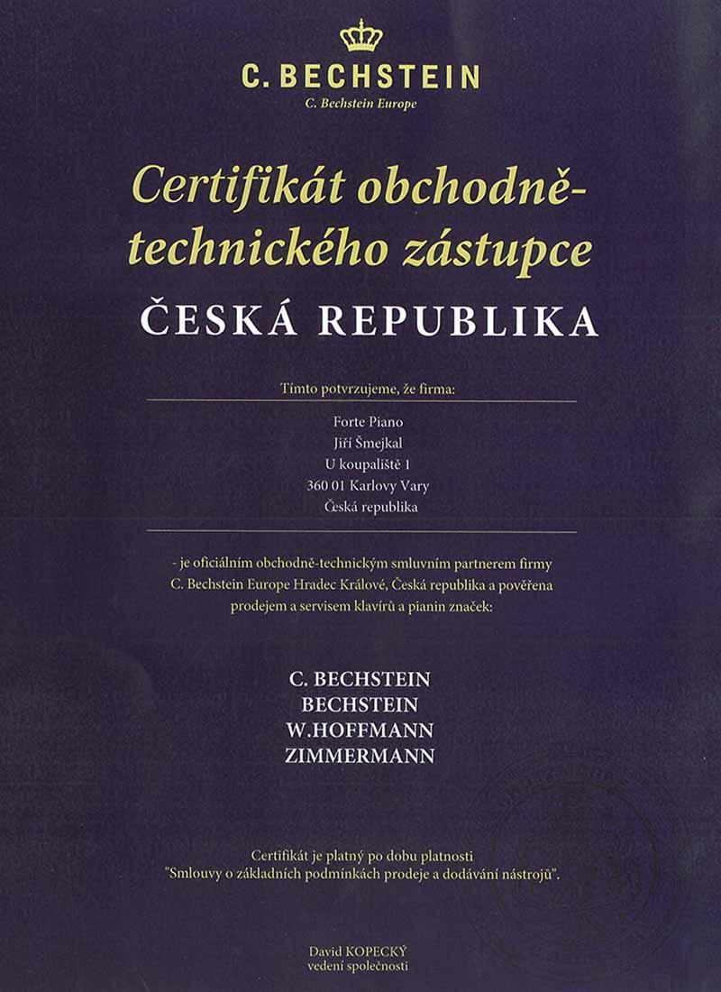 Forte Piano Klavír certifikát